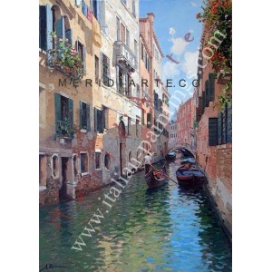 Venetian canal oil painting