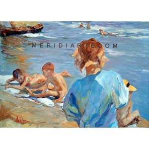 At the sea - Figure oil paintings