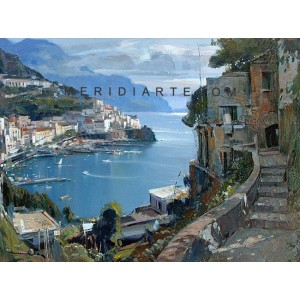 Bay of Amalfi oil painting - Vincenzo Aprile Amalfi Coastal