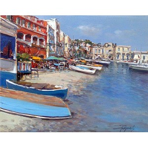 Marine of Capri - Seascape oil paintings - Marina Grande