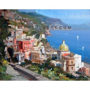 Church of Positano - Vincenzo Aprile Coast oil paintings