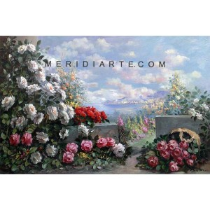 Terrace with Flowers oil painting