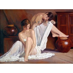 In the sauna - Nude oil paintings