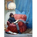 Reading in the armchair - Figure oil paintings