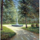 Fountain in the park - Landscape oil painting