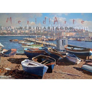 Marine oil painting - Boats in Mergellina