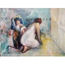 Maternity - Figurative oil painting - Veronica Canzanella