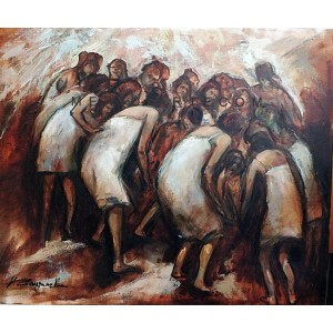 The birth - Figurative oil painting inspired by Pina Bausch
