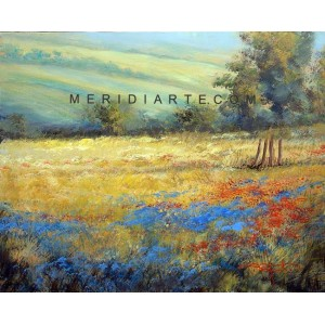 Field of flowers - Tuscany landscape oil paintings