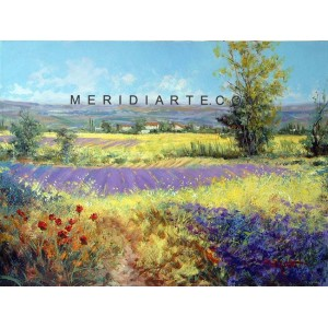 Lavender field -  landscape oil paintings