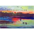 Sunset Landscape oil painting - Wikens Hans Desiderio