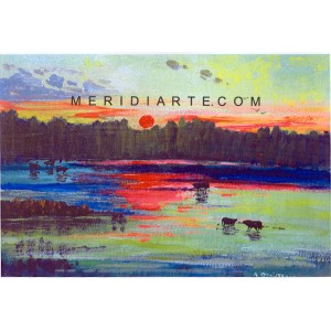 Sunset Landscape oil painting - Wikens Hans Desiderio