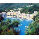 Portofino oil painting - View of the bay - Italian coast