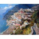 View of Positano oil painting - Vincenzo Aprile Coast