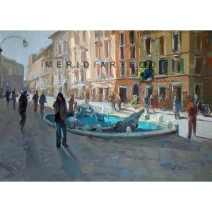 Backlight - Spagna Square oil painting Rome
