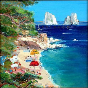 Beach in Capri - Capri oil paintings