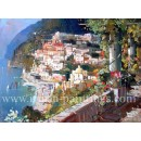 Terrace in Positano oil painting - Vincenzo Aprile Coast