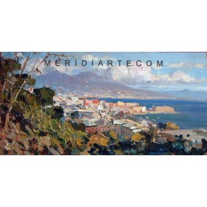 View of Naples - Coastal oil painting