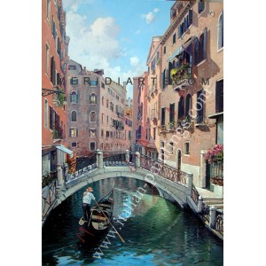 Venice oil painting - Bridge in the Canal